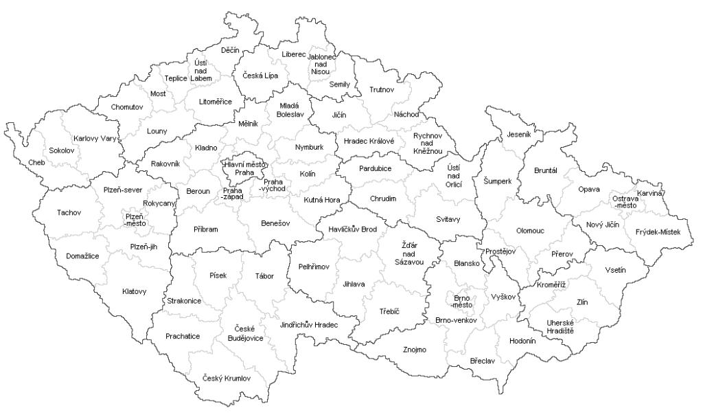 Hranice okresů, mapa okresů ČR